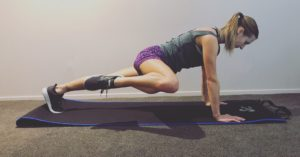 Plank position one leg bent to side