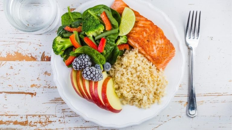 Plate of healthy food